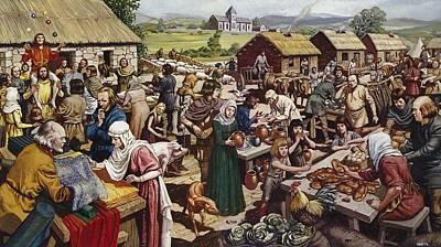 Saxon Village Fair Colour Litho Poster by Mike White