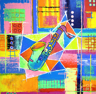 Saxophone In A Fish Poster by Jeremy Aiyadurai