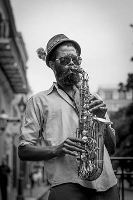 Saxophone Musician New Orleans Poster by David Morefield