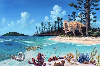 Scelidosaurus Dinosaur Poster by Richard Bizley