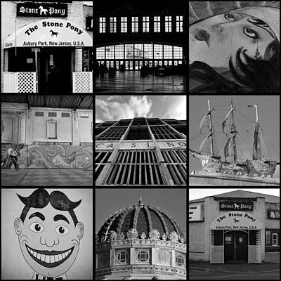 Scenes From Asbury Park New Jersey Collage Black And White Poster by Terry DeLuco