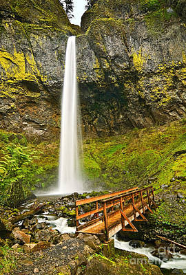 Scenic Elowah Falls In The Columbia River Gorge In Oregon Poster by Jamie Pham