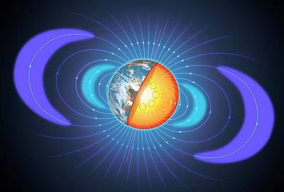 Schematic Of Van Allen Radiation Belts Poster by Mark Garlick