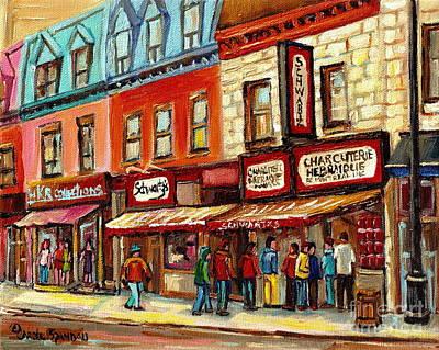 Schwartz The Musical Painting By Carole Spandau Montreal Streetscene Artist Poster by Carole Spandau