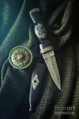 Scottish Dirk And Celtic Pin Brooch On Plaid Poster by Sandra Cunningham
