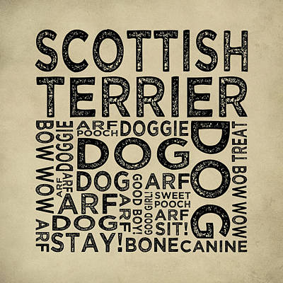 Scottish Terrier Typography Poster by Flo Karp