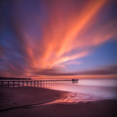 Scripps Pier Sunset - Square Poster by Larry Marshall