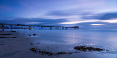 Scripps Pier Twilight - Color Poster by Peter Tellone