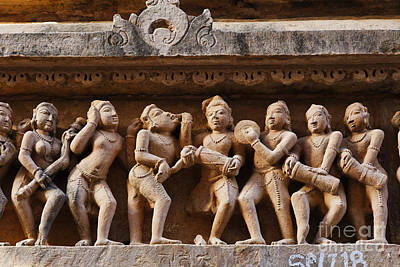 Sculpture Of Musicians On The Lakshmana Temple At Khajuraho In India Poster by Robert Preston