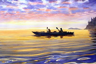 Sea Kayakers Alaska Poster by Vladimir Zhikhartsev