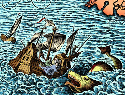 Sea Monster Attacking Ship, 1583 Poster by Science Source