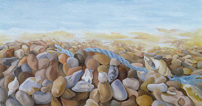 Sea Shore Oil On Canvas Poster by Cristiana Angelini