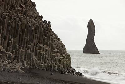 Sea Stack And Basalt Columns Poster by Ashley Cooper