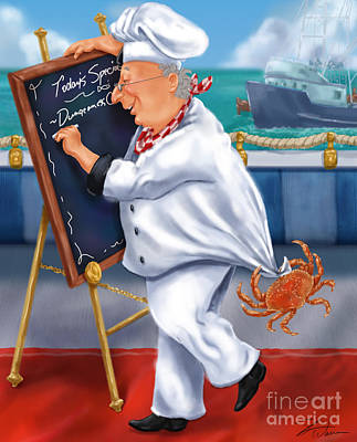 Seafood Chefs-todays Special Poster by Shari Warren