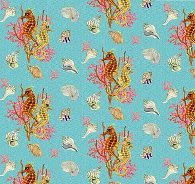Seahorses Coral And Shells Poster by Kimberly McSparran