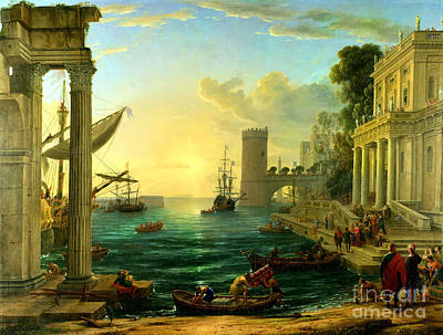 Seaport With The Embarcation Of St. Ursula By Claude Lorrain Poster by Pg Reproductions
