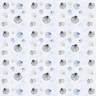 Seashell Pattern Poster by Christina Rollo