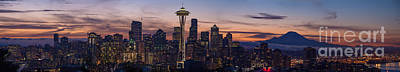 Seattle Cityscape Morning Light Poster by Mike Reid