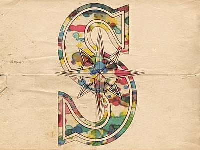 Seattle Mariners Logo Art Poster by Florian Rodarte
