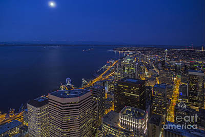 Seattle Moonset Glow Poster by Mike Reid
