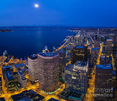 Seattle Moonset Night Poster by Mike Reid
