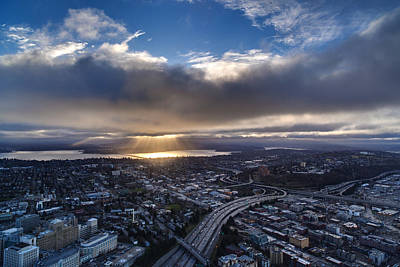 Seattle Morning Sunrays Poster by Mike Reid