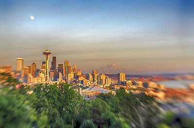 Seattle Skyline Lens Baby Hdr Poster by Scott Campbell