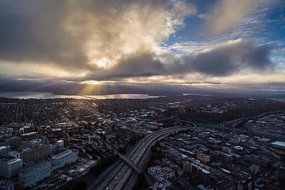 Seattle Sunrise Sunrays Poster by Mike Reid
