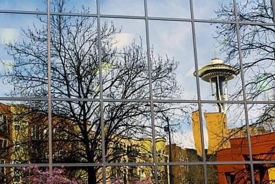 Seattle Washington Space Needle Reflection Poster by Michael DeMello