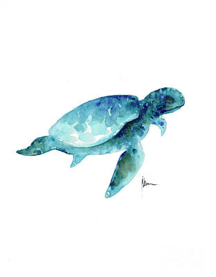 Seaturtle Art Print Watercolor Painting Poster by Joanna Szmerdt