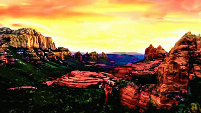 Sedona Red Rocks Sunset Painting Poster by Bob and Nadine Johnston