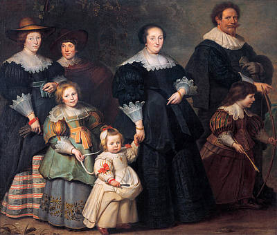 Self-portrait Of The Artist With His Wife Suzanne Cock And Their Children Poster by Cornelis de Vos