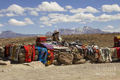 Selling Handicrafts In Peru Poster by Patricia Hofmeester