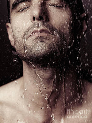 Sensual Portrait Of Man Face Under Shower Poster by Oleksiy Maksymenko