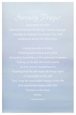 Serenity Prayer Print -- Blue Sky Watercolor Poster by Spirit Greetings