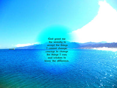Serenity Prayer With Blue Ocean And Amazing Sky Poster by Valentino Wolf