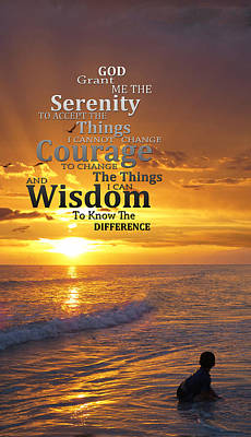 Serenity Prayer With Sunset By Sharon Cummings Poster by Sharon Cummings