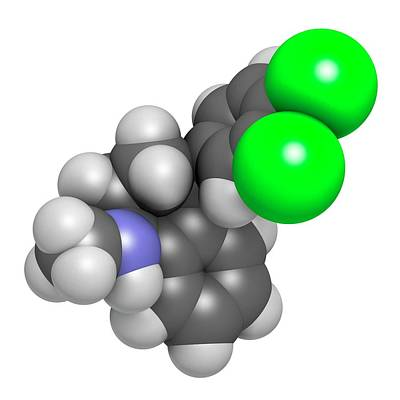 Sertraline Antidepressant Drug Molecule Poster by Molekuul