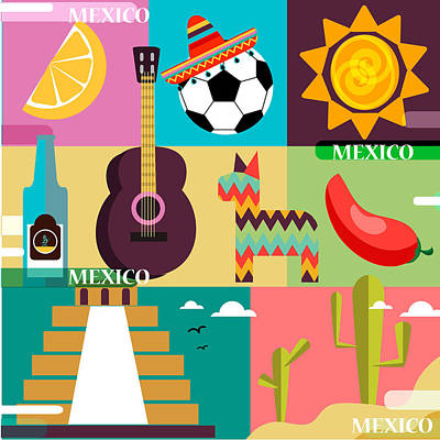 set of various stylized Mexica icons Poster by Victoria Frenkel