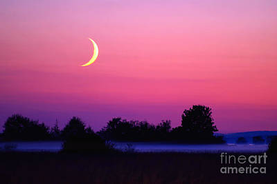 Setting Crescent Moon At Dusk Poster by Douglas Taylor