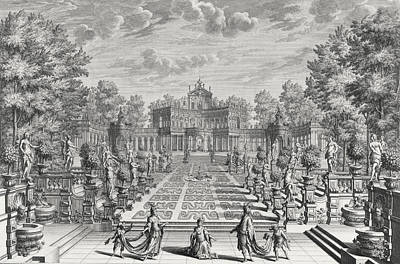 Setting For An Opera In A Garden Poster by Giuseppe Bibiena