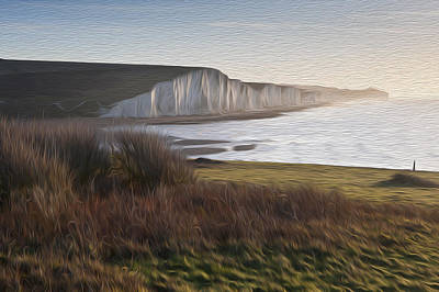 Seven Sisters Sunrise Viewed From Seaford Head Digital Painting Poster by Matthew Gibson