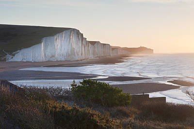 Seven Sisters Sunrsie Viewed From Seaford Head Poster by Matthew Gibson