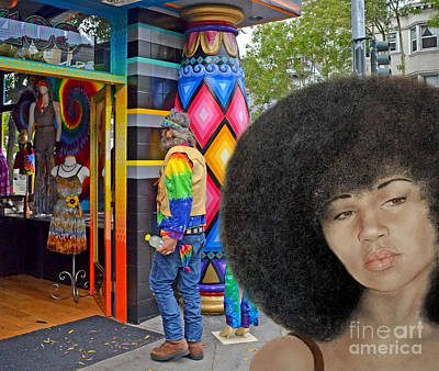 Sexy Aevin Dugas Holder Of The Guinness Book Of World Records For The Largest Afro Version IIi Poster by Jim Fitzpatrick