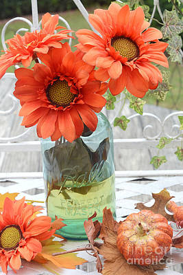 Shabby Chic Autumn Fall Orange Daisy Flowers In Mason Ball Jar - Autumn Fall Flowers Gerber Daisies Poster by Kathy Fornal