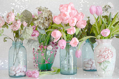 Shabby Chic Cottage Pink Blossoms Tulips And Aqua Blue Ball Jars And Hearts Poster by Kathy Fornal