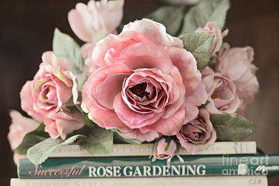Shabby Chic Vintage Roses - Dreamy Ethereal Peach Pink Roses Garden Cottage Art Poster by Kathy Fornal