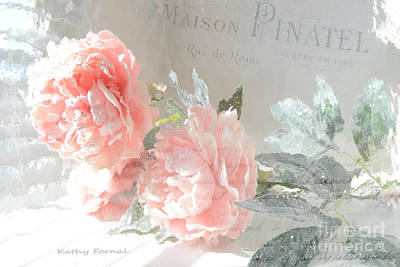 Shabby Chic Dreamy Cottage Chic Impressionistic Romantic Peach Roses Floral Art Poster by Kathy Fornal