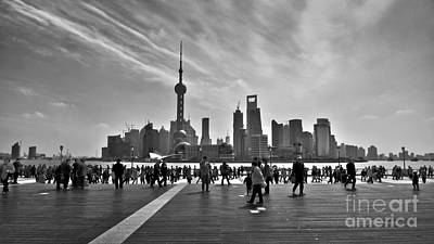 Shanghai Skyline Black And White Poster by Delphimages Photo Creations