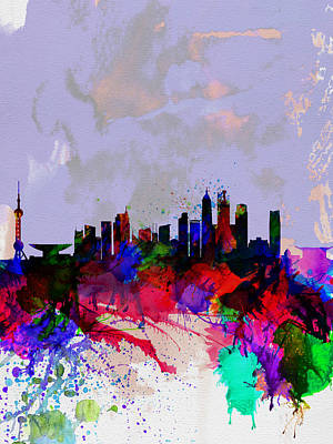 Shanghai Watercolor Skyline Poster by Naxart Studio